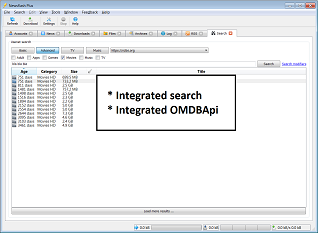 Screenshot of integrated search